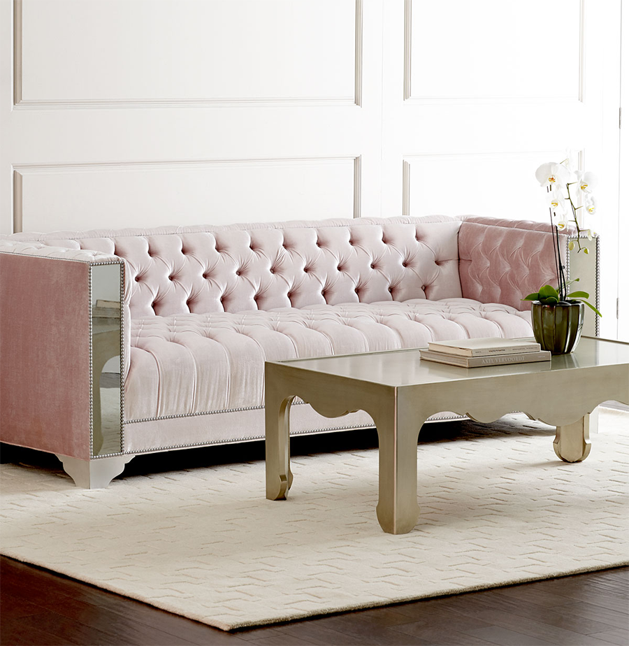 Lena Mirrored Sofa with Tufting