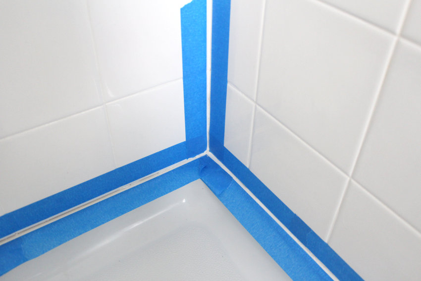 Painter's tape adds precision to the caulking process