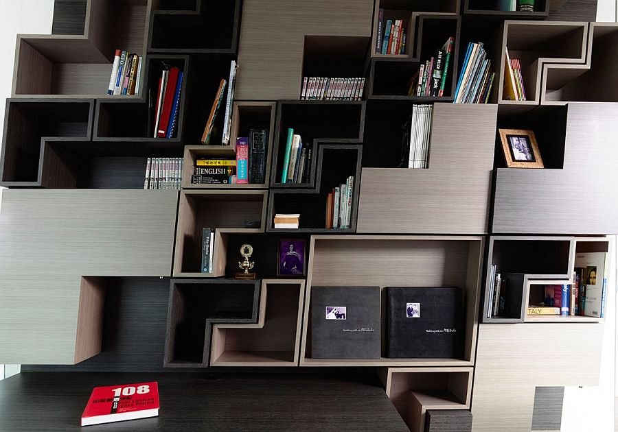 Shelves of the study inspired by the classic Ligne Roset sofas