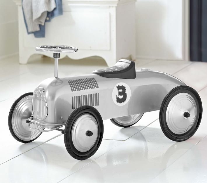 Silver racecar toy from Pottery Barn Kids