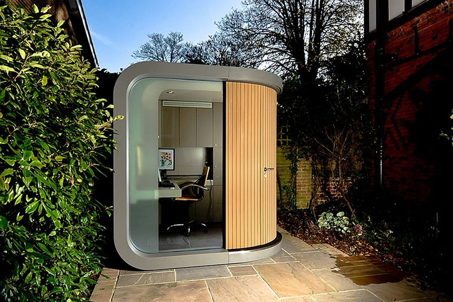 Stunning prefab office in the garden is both functional and aesthetic