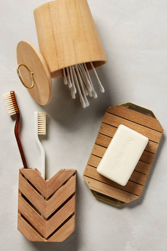 Teak bathroom containers from Anthropologie
