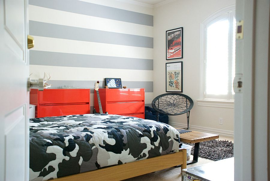 Trendy stripes in the tween bedroom shape a lovely accent wall