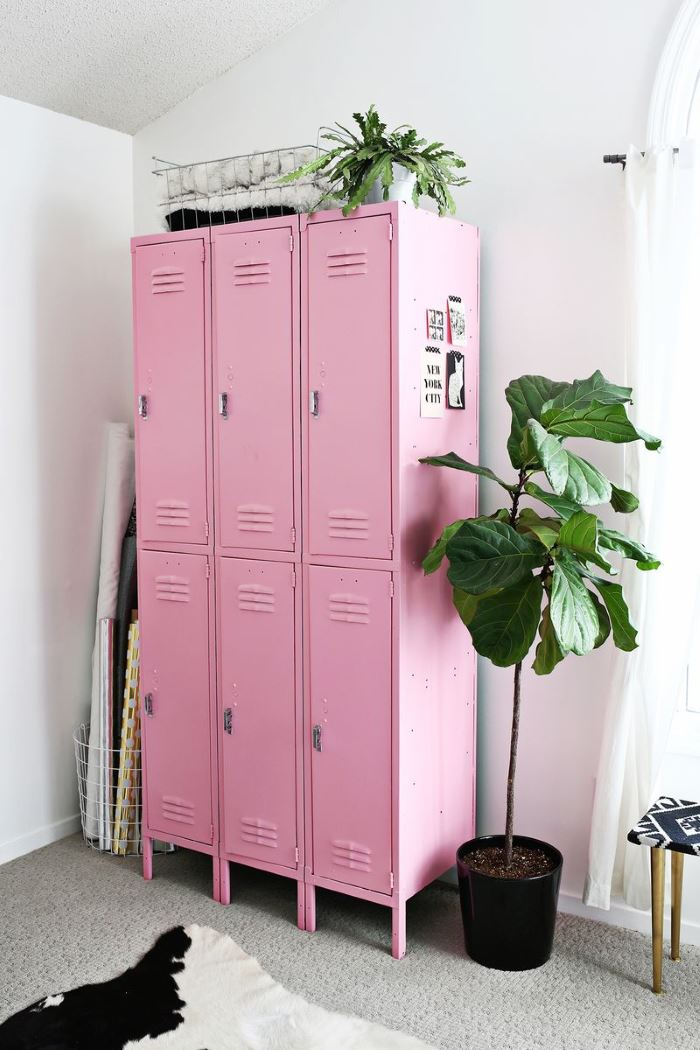 Vintage lockers in a modern art room
