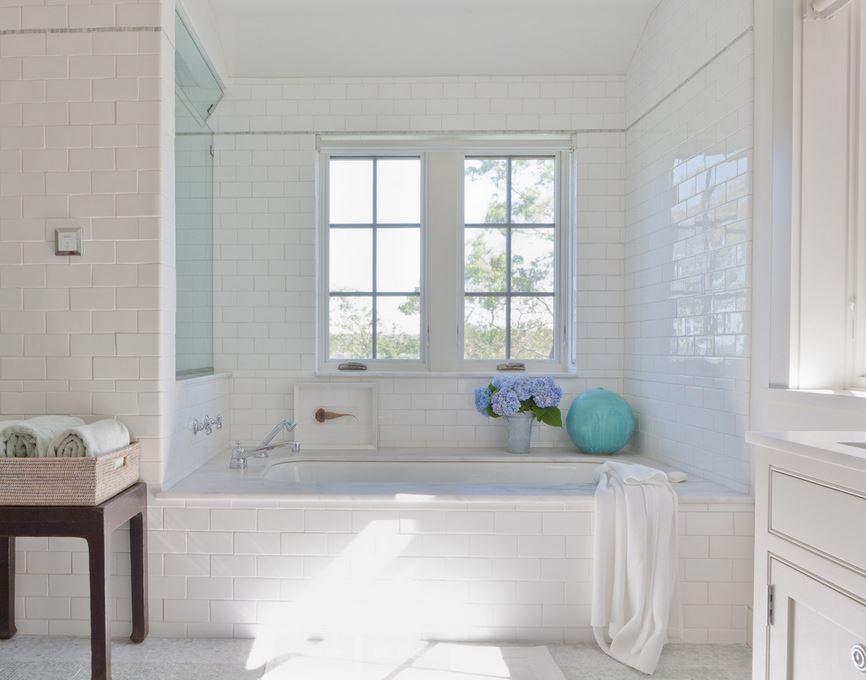White tub in a serene bathroom