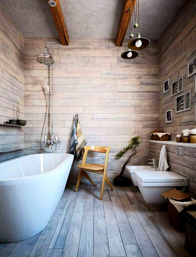 Wood-panelled bathroom with pretty pendant lights