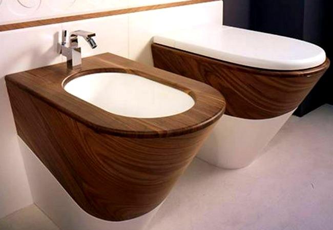 Modern, yet a bit rustic bidet and toilet set
