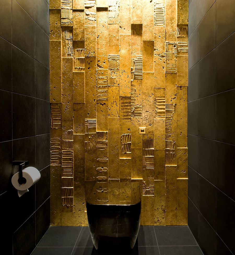 All you need is some gold paint to create magic in the dark bathroom!
