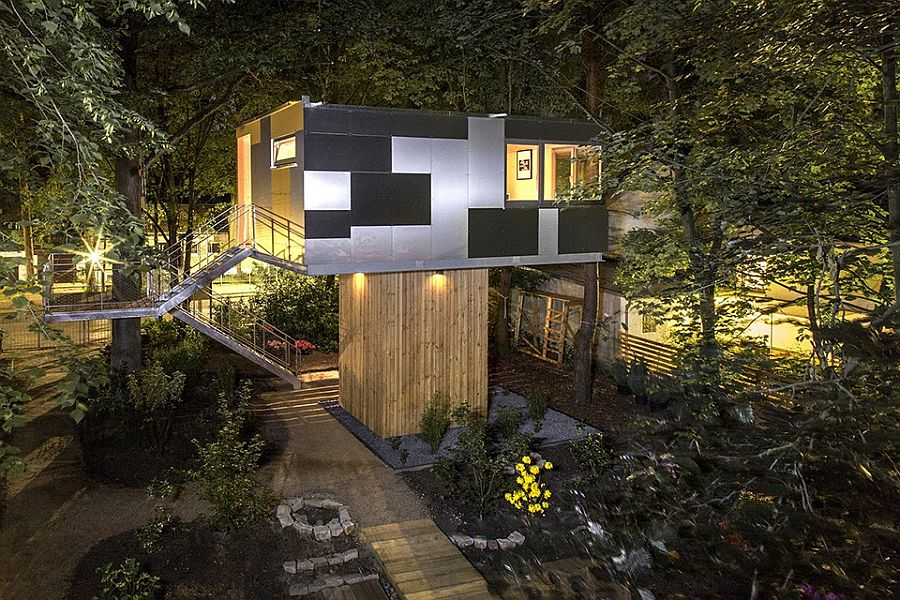Aluminum composite panels cover the side of the house