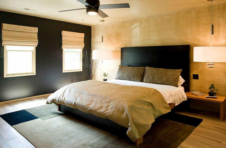 Asian inspired bedroom in black and gold