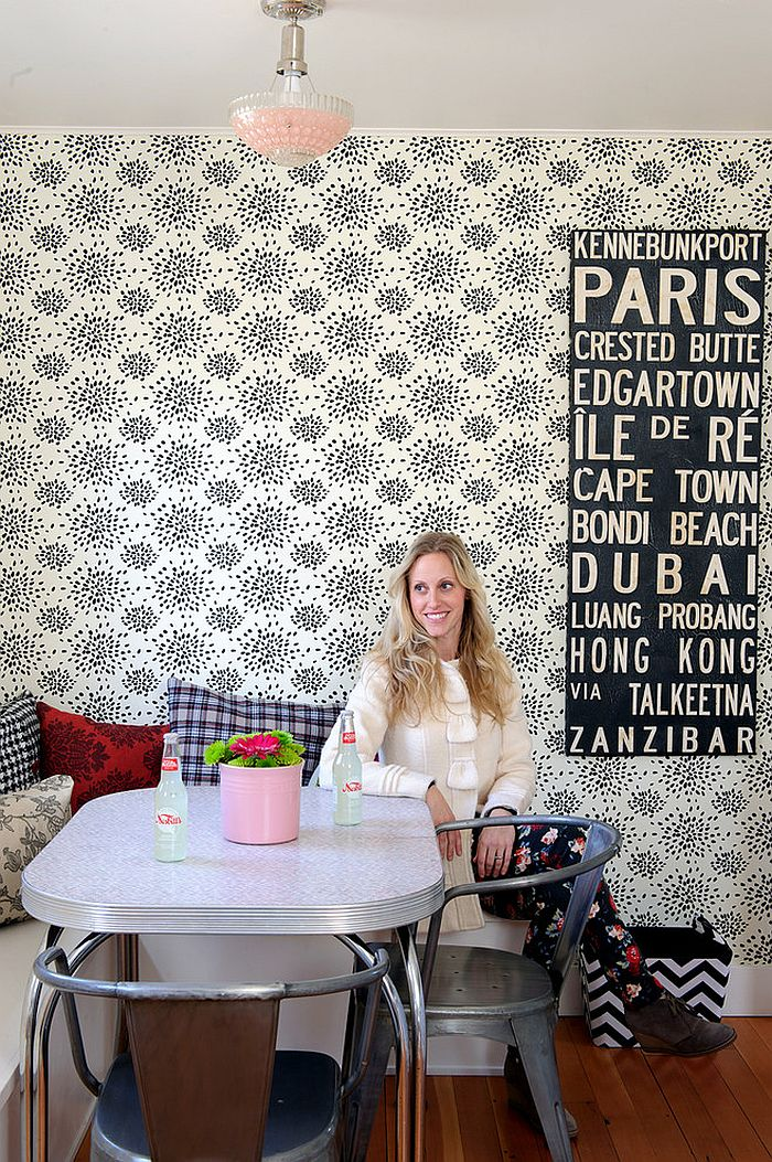 Cool wallpaper for the shabby chic dining room [Design: Sarah Phipps Design]