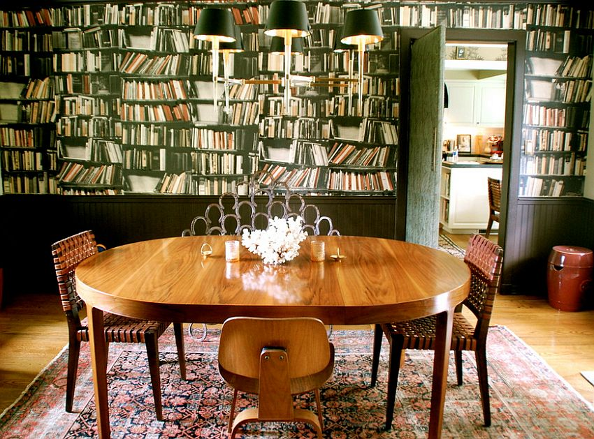 Eclectic dining room with a unique wallpapered backdrop [From: Lisa Borgnes Giramonti]