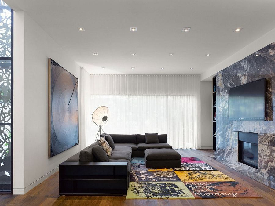 Exquisite living area of the Ontario Home with Oversized floor lamp