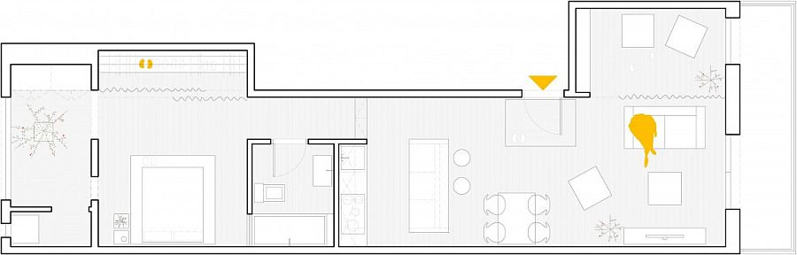 Floor plan of the renovated home in Barcelona