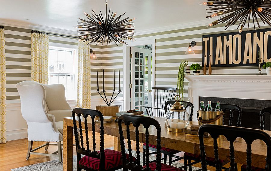 Fun dining room design with striped wallpaper [Design: Hudson Interior Design]