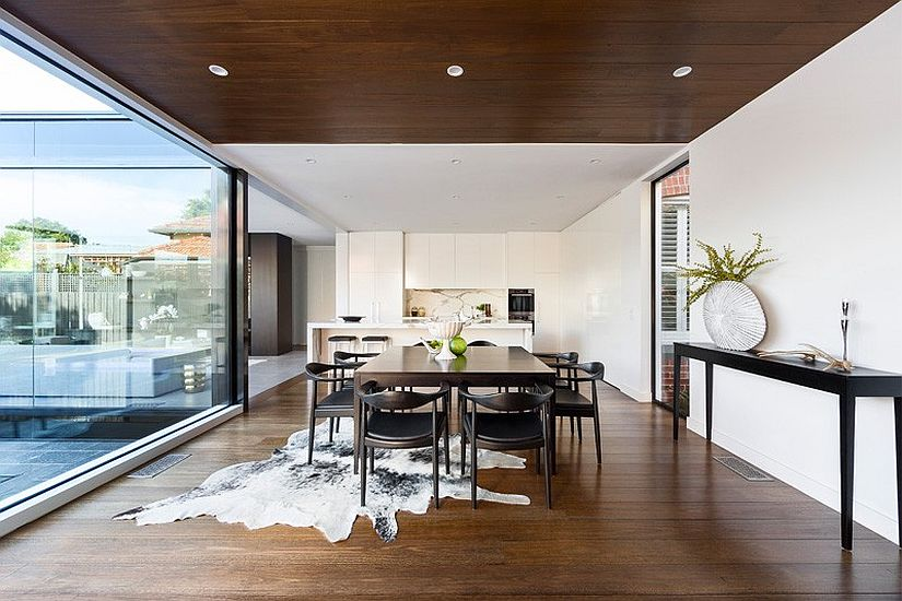 Kitchen and dining area of the revamped heritage home in Melbourne