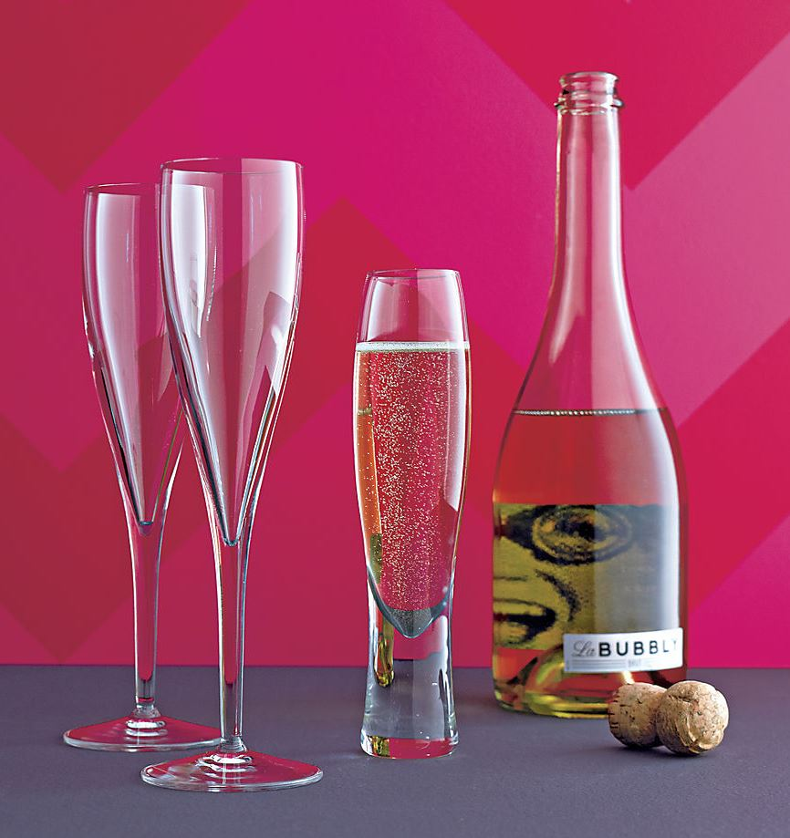 Modern champagne flutes from CB2