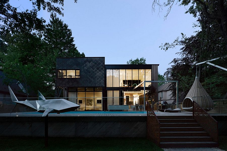 Private deck and pool area of the expansive Canadian home