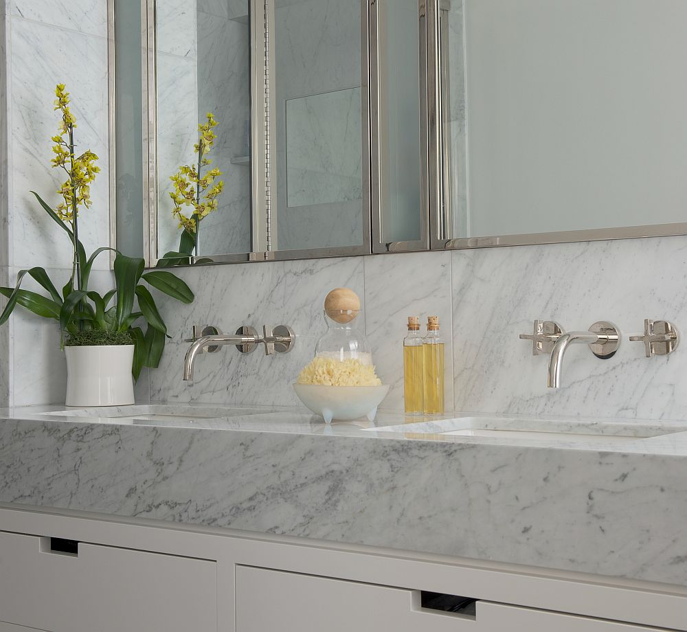 Renovated bathroom with stone vanity