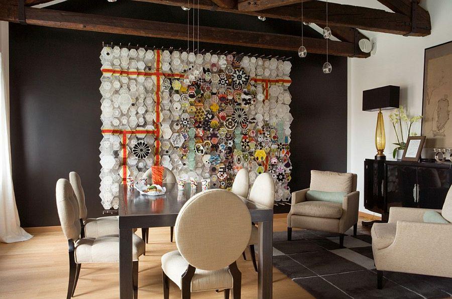 Sculptural 3D art addition defines the dining room