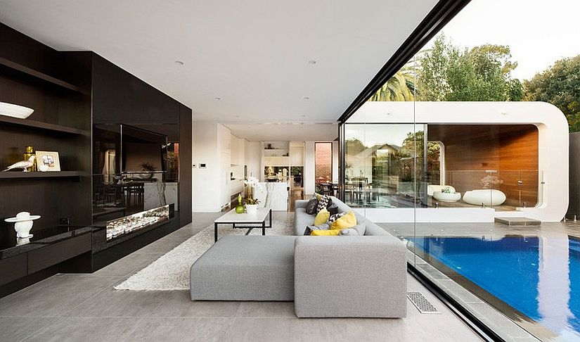Sitting area wih glass sliding doors make up the contemporary extension