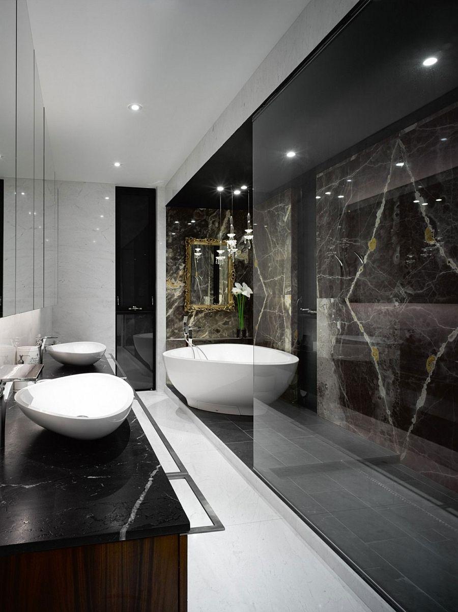 Spa-styled master bath oozes opulence thanks to stone finish