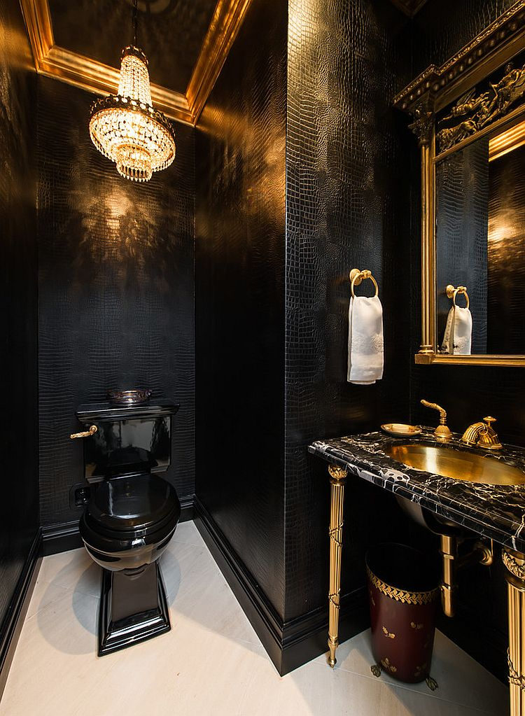 Traditional powder room in gold and black