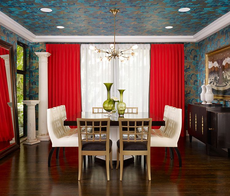 Trendy dining room draped in wallpaper [Design: Pal + Smith]