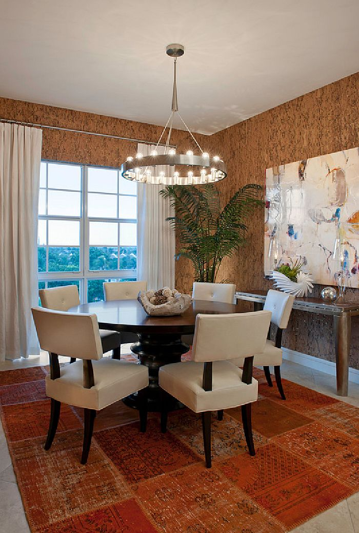 Unique wallpaper brings the texture of cork to the dining room [Design: Garrison Hullinger Interior Design]
