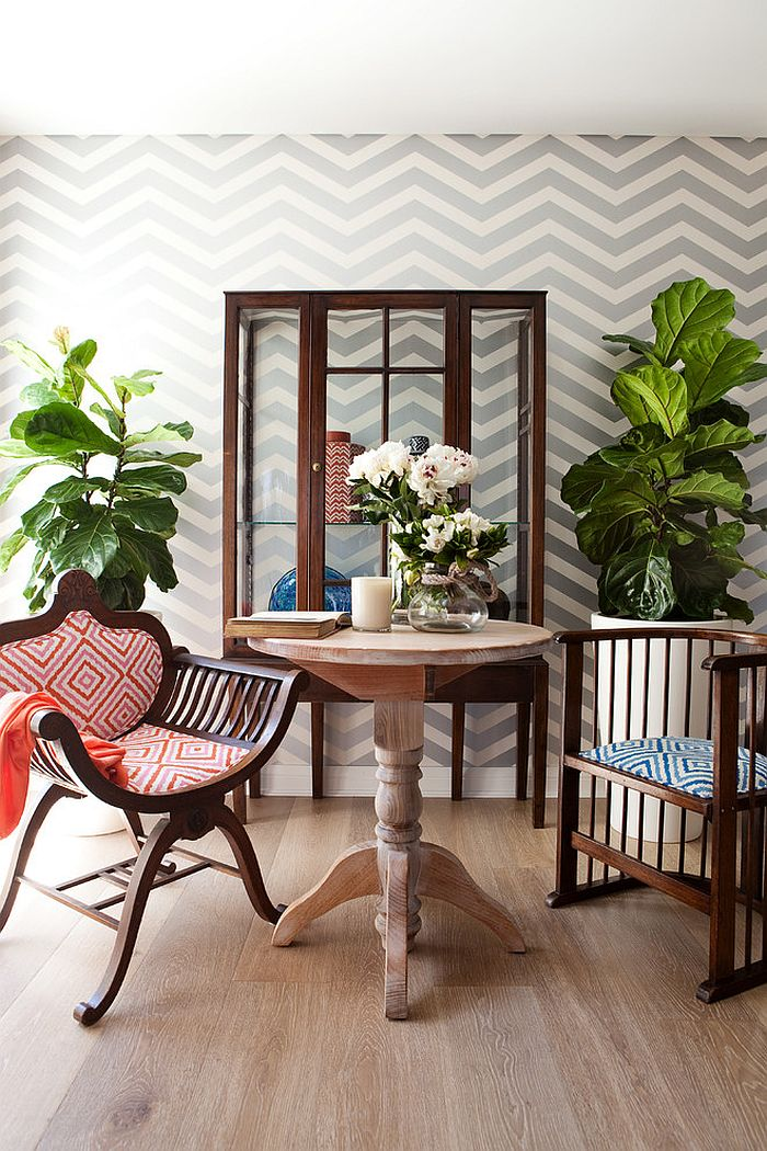 Wallpaper brings chevron style to the small, shabby chic dining space [Design: AS you see it!]