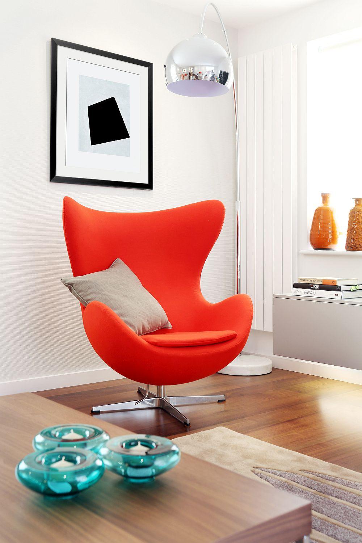 Arne Jacobsen Egg Chair brings color to the lovely TV Room