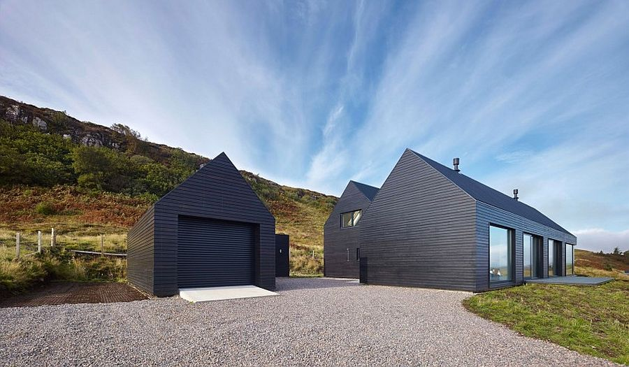 Black exterior of the home gives it a unique presence