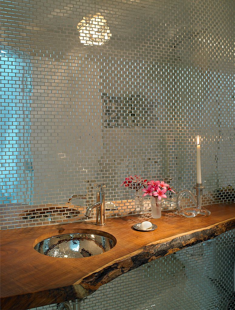 Custom tile backdrop and wooden counter in the powder room [Design: AJS Designs]