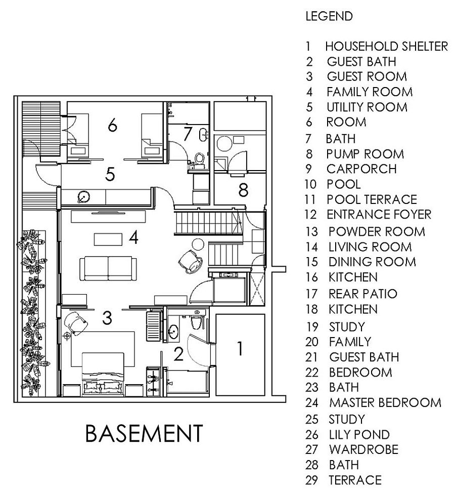 Floor plan of the basement of the modern Singapore home