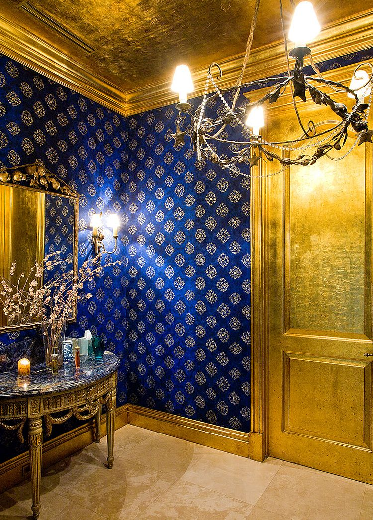 Glamorous powder room in blue and gold [From: Roy Campana Photography]