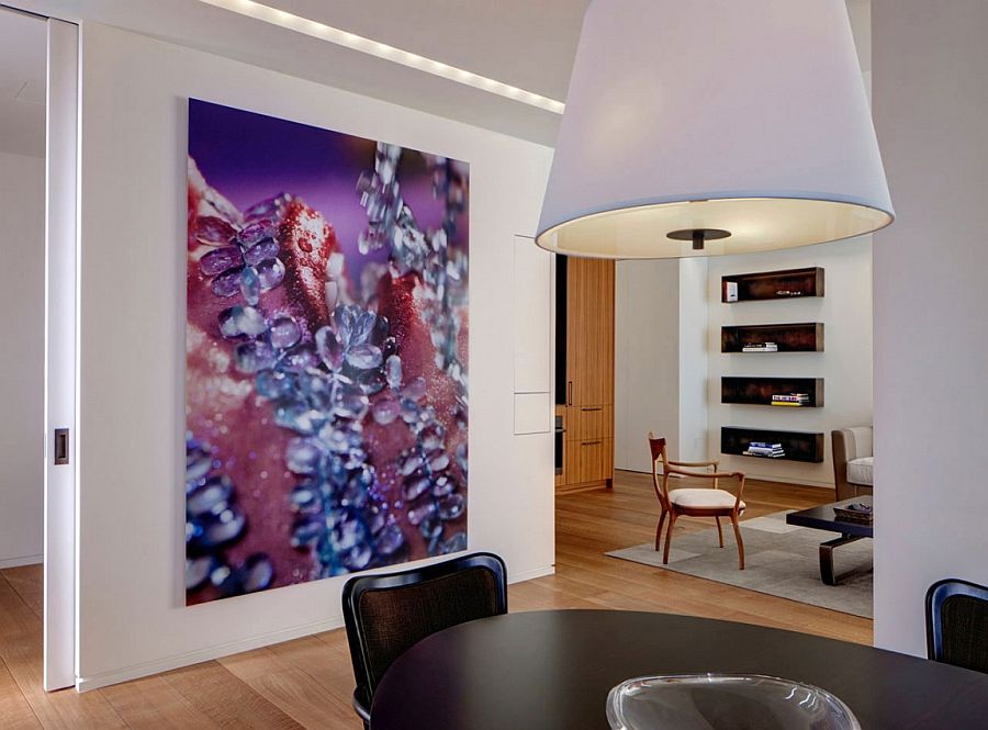 Gorgeous wall art enlivens the trendy NYC apartment