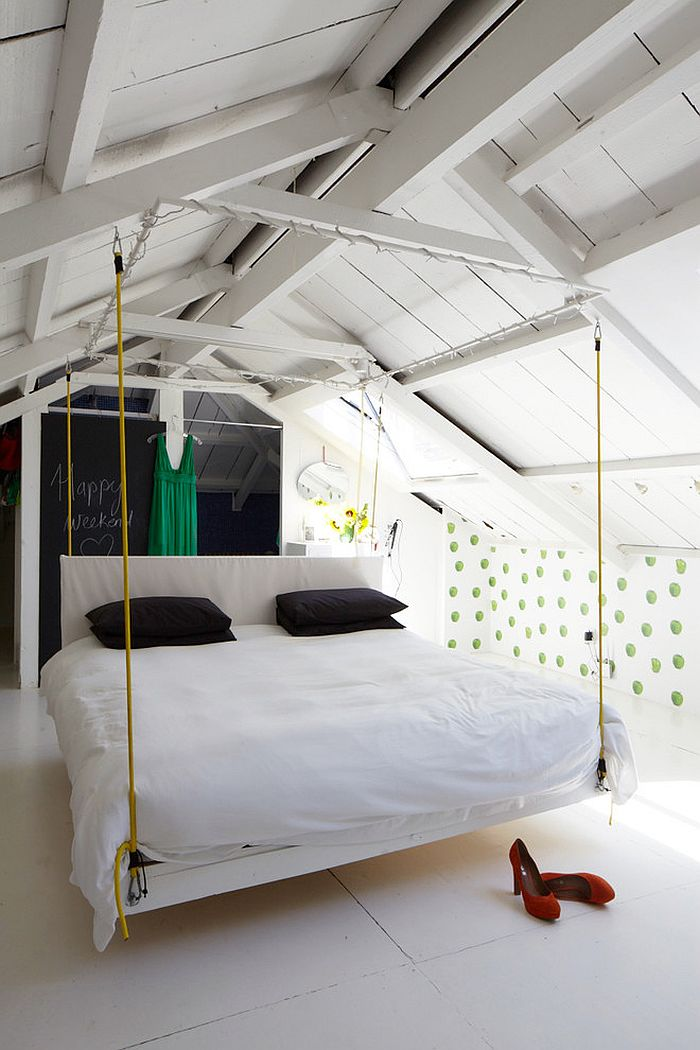 Hanging bed adds to the breezy appeal of the bedroom