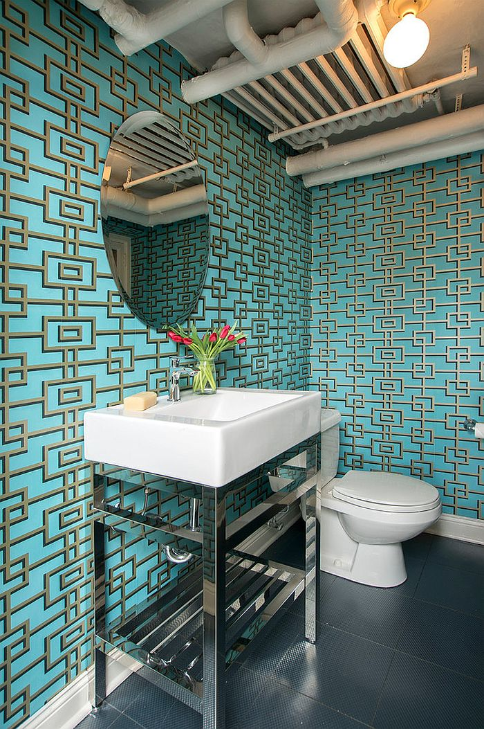 Industrial powder room with trendy wallpapered backdrop [Design: Suzan J Designs - Decorating Den Interiors]