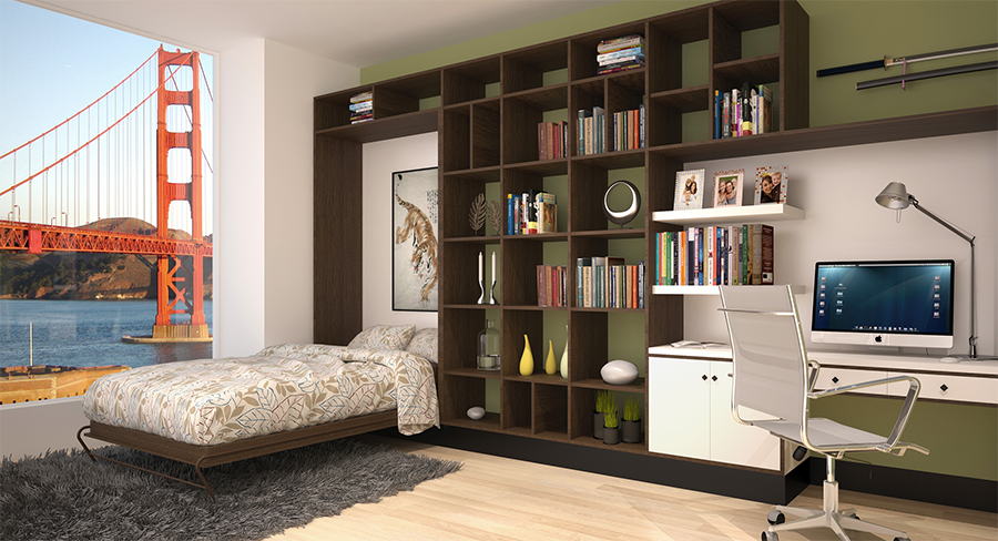 Murphy Bed Folded Down with View of Golden Gate Bridge
