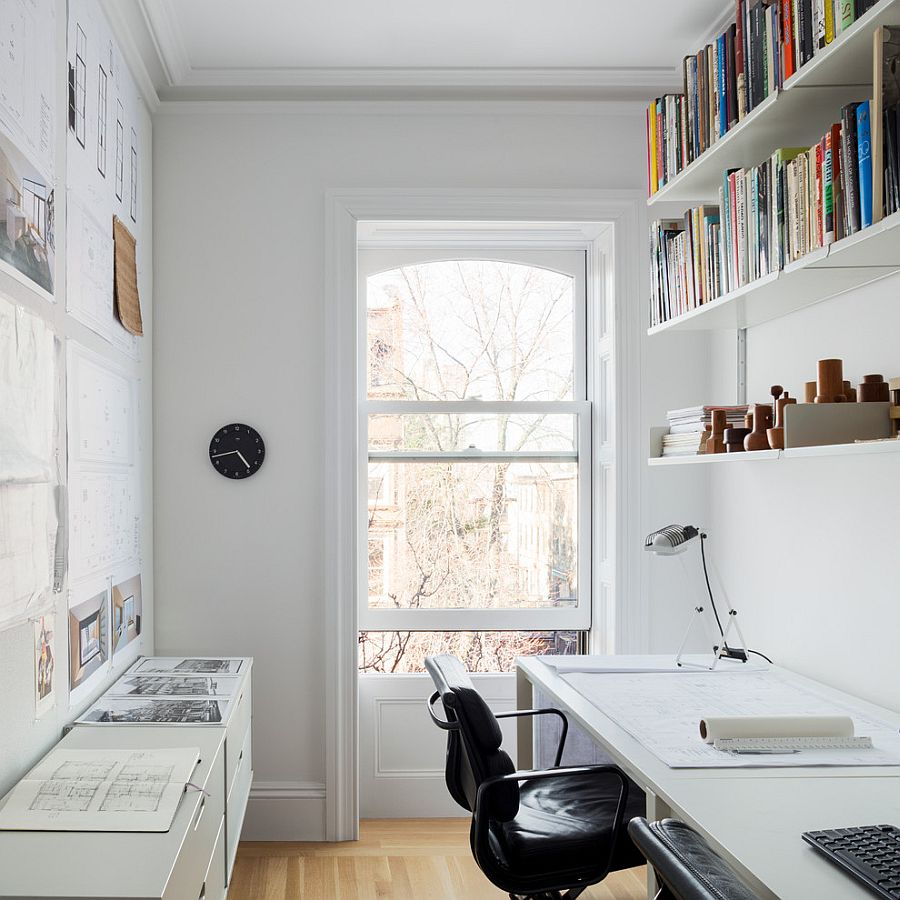 Small and narrow home office and study design with Scandinavian style