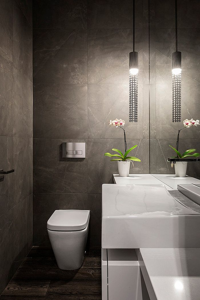 Smart lighting choice for the contemporary powder room [From: Impress Photography]