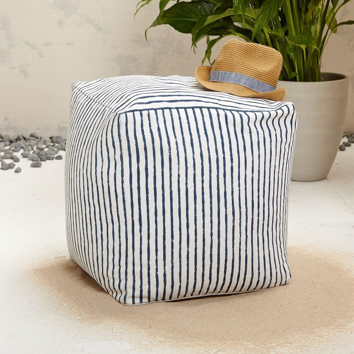 Striped pouf from West Elm