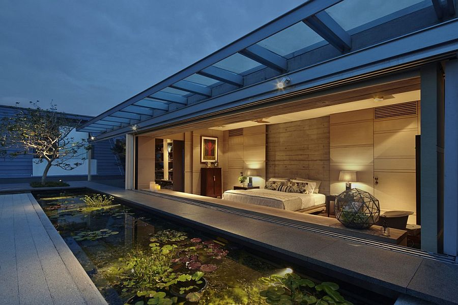 Stunning attic lily pond and master bedroom of the Singapore home