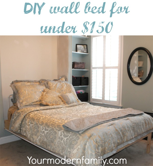 Your modern family wall bed flipped down