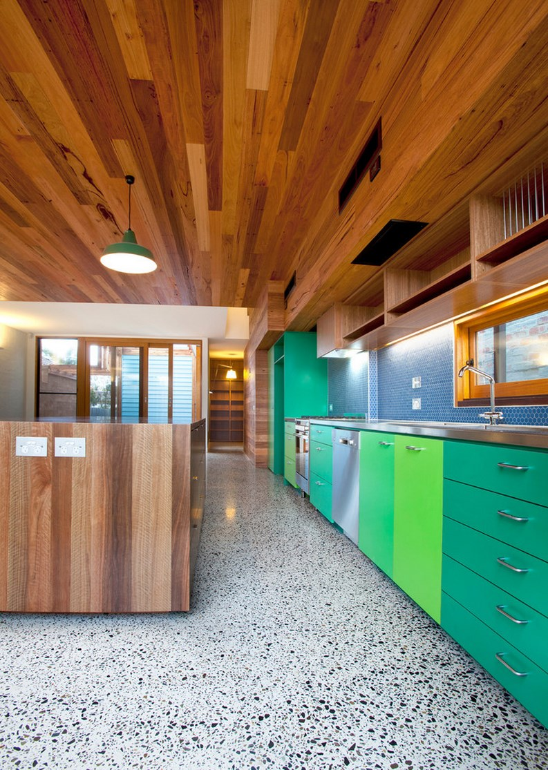 Contemporary kitchen with colorful cabinets