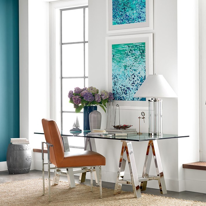 Glass-top trestle desk from Williams-Sonoma Home