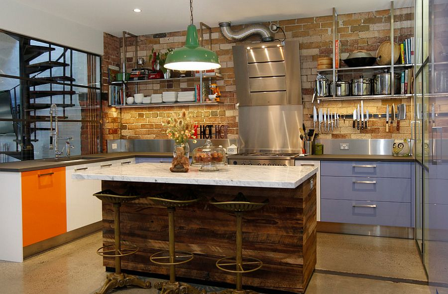 Interesting use of pops of color inside the modern industrial kitchen [Design: The Kitchen Place]
