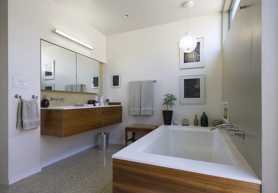 Modern bathroom with seamless terrazzo tile