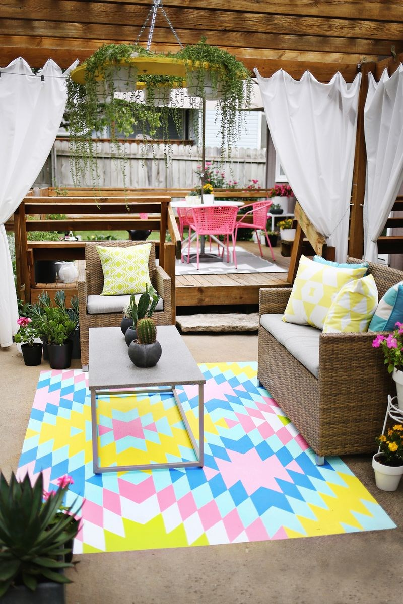 Plant chandelier on an outdoor DIY patio