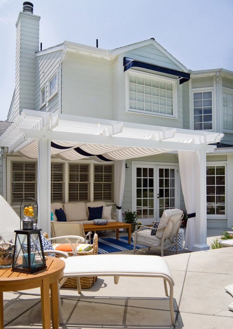Poolside patio with blue and white accents